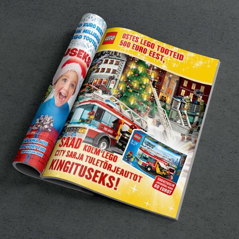 LEGO Christmas campaign press layout design for magazine in Estonia.